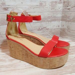 M. Gemi red leather cork platform sandals
